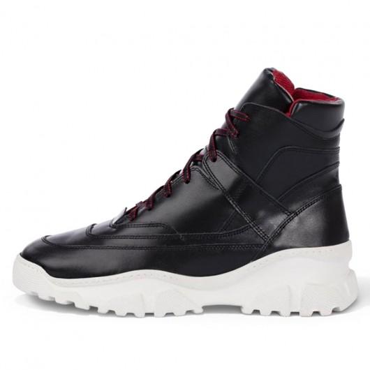 CHAMARIPA verhogende schoenen sneakers met verhoogde binnenzool zwarte leren hoge sneakers 8CM