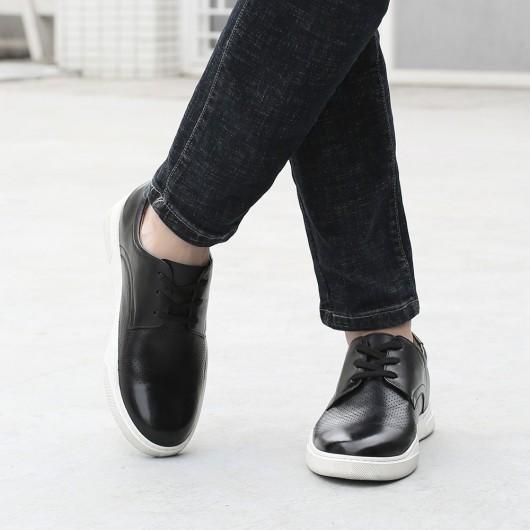 CHAMARIPA verhogende schoenen - heren schoenen met verborgen hak- zwart geperforeerd leer sneakers 6CM