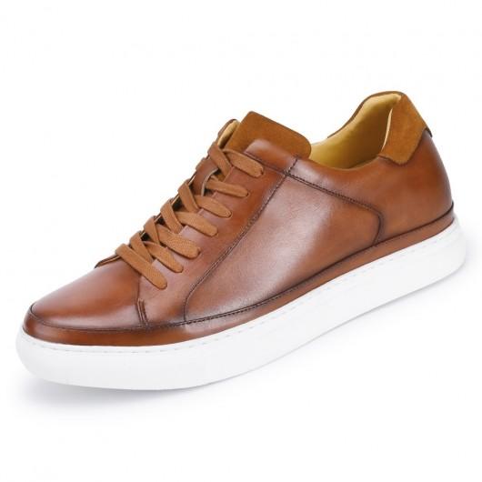 CHAMARIPA hoge hakken voor mannen - sneakers met verborgen sleehak- Lichtbruine leren casual sneakers 7CM
