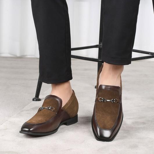 CHAMARIPA verhoogde schoenen heren - mannen schoenen met ingebouwde hak - bruine suède instappers 6 CM