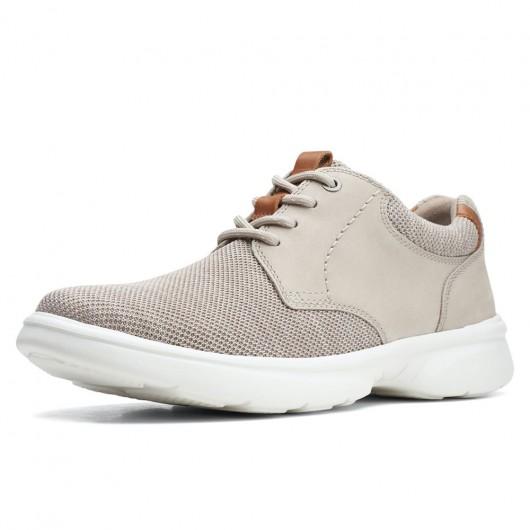 CHAMARIPA heren schoenen met verborgen hak - mannen schoenen met ingebouwde hak - beige gebreide vrijetijdsschoenen 7 CM