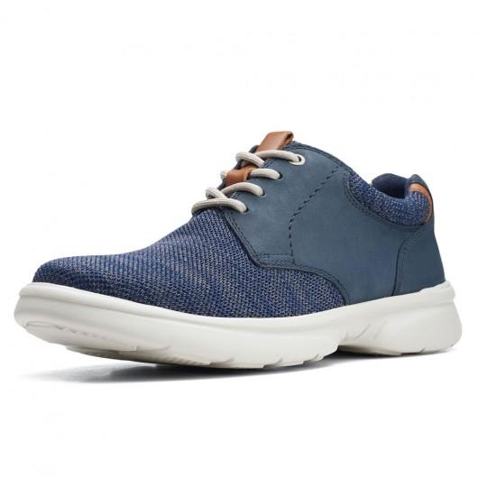 CHAMARIPA verhogende schoenen - navy gebreide vrijetijdsschoenen voor korte heren - herenschoenen met verhoogde hak 7 CM