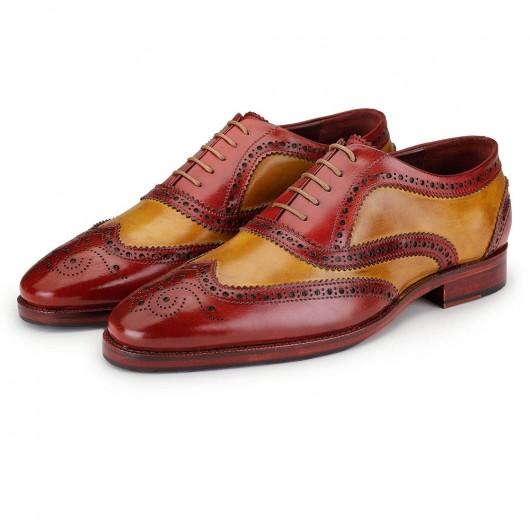 CHAMARIPA verhoogde schoenen - herenschoenen met verhoogde hak- handgemaakte vleugeltip brogue oxford - rood & tan - 7CM
