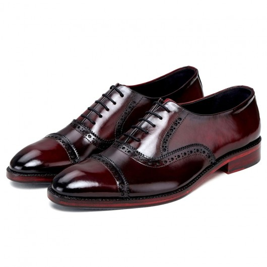 CHAMARIPA verhogende schoenen - heren schoenen met verborgen hak - handgemaakte wijnrode leren schoenen 7CM