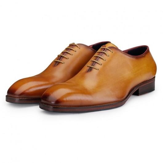 CHAMARIPA verhoogde schoenen - mannen schoenen met ingebouwde hak - handgemaakte Oxford schoenen heren Goud  7CM