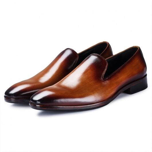 Chamaripa - verhoogde schoenen voor mannen - herenschoenen met verhoogde hak - bruine loafers 7CM