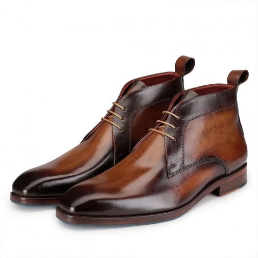 CHAMARIPA  verhoogde schoenen voor mannen - heren schoenen met verborgen hak - handgemaakte bruine leren laarzen 7CM