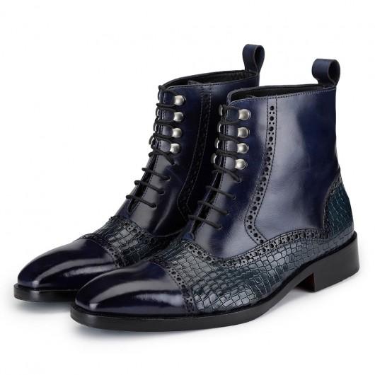 CHAMARIPA heren schoenen met verborgen hak - verhoogde schoenen voor mannen- Marine lederen schoenen 7CM