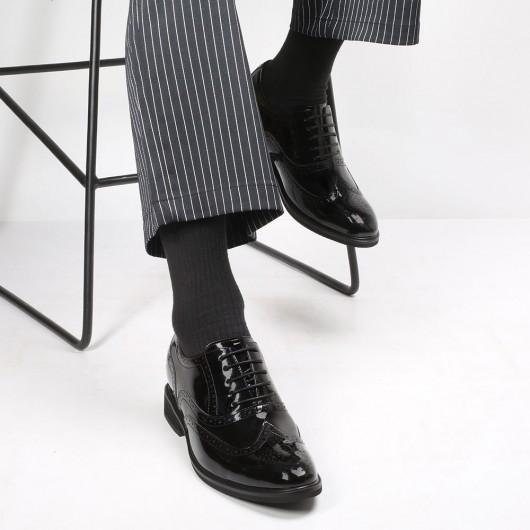 CHAMARIPA verhogende schoenen heren hoge hakken voor mannen zwart leren oxford brogues 8CM