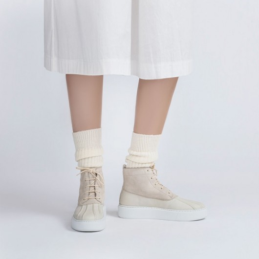 CHAMARIPA enkellaarzen met sleehak - Beige Leren laarzen voor dames - laarzen met verhoogde hiel 7 CM