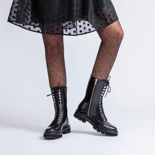 CHAMARIPA dames schoenen met verborgen hak - zwarte leren dameslaarzen met hoge hak -hoge hakken ameslaarzen 7 CM
