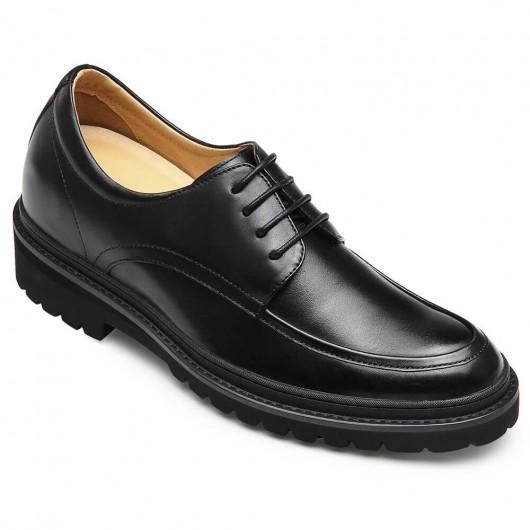 CHAMARIPA verhoogde schoenen zwart lederen casual verhoogde schoenen 8CM