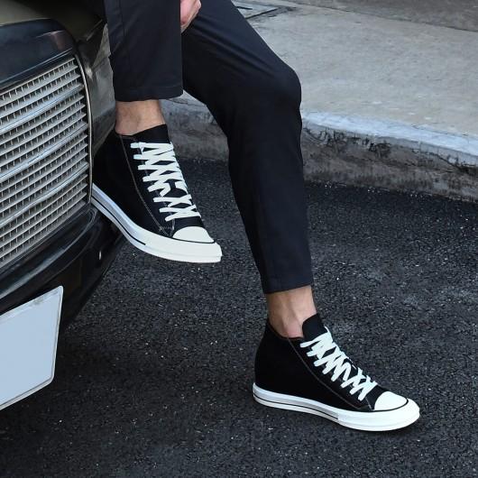 CHAMARIPA verhoogde schoenen voor mannen zwarte leren hoge skateschoenen 6CM