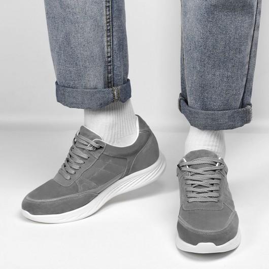 CHAMARIPA verhogende schoenen grijze suède sneakers met verborgen hak verhoogde schoenen 7 CM