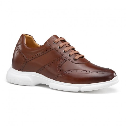 Chamaripa casual verhoogde schoenen voor mannen herenschoenen met verhoogde hak bruin 7CM