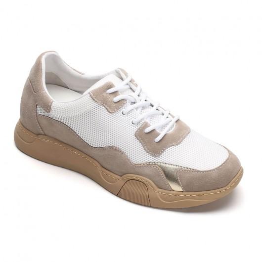 CHAMARIPA verhoogde schoenen beige mannen schoenen met ingebouwde hak mesh vrijetijdsschoenen 6CM