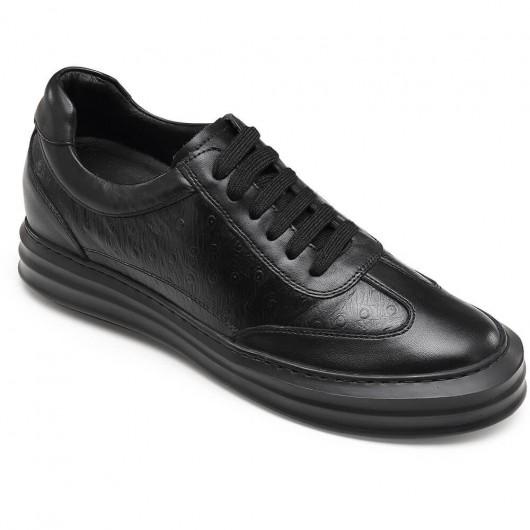 CHAMARIPA casual verhoogde schoenen zwart lederen schoenen met hoge hakken voor mannen 7 CM