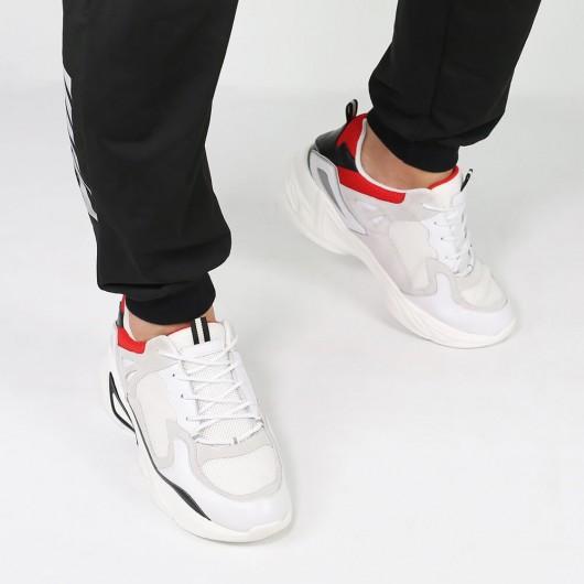 Chamaripa verhogende schoenensneakers met verborgen sleehak wit hoge herenschoenen dikke sneakers 7CM