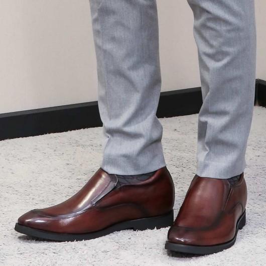 Chamaripa verhoogde schoenen heren schoenen die je langer maken bruin instappers met verhoogde hak 7CM