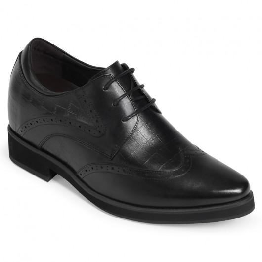 CHAMARIPA heren schoenen met verborgen hak zwart lederen veterschoenen verhoogde schoenen 10CM