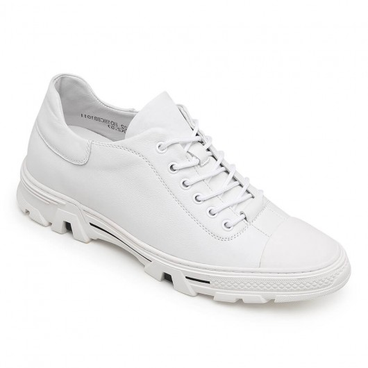 CHAMARIPA verhogende schoenen sportschoen met verhoogde hak sneakers in pelle bianca 6CM