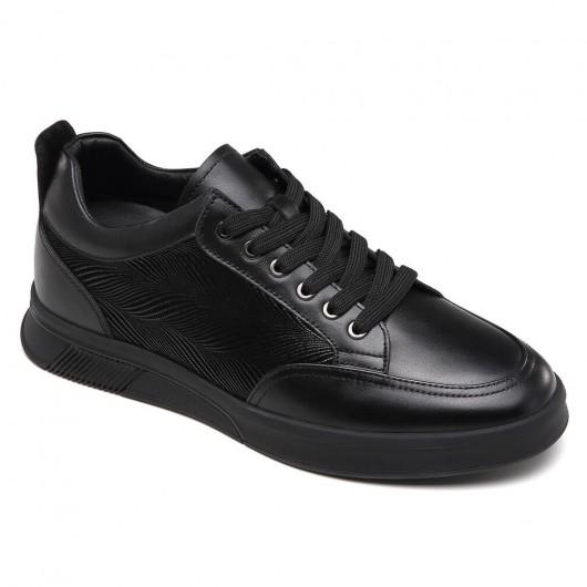 CHAMARIPA heren schoenen met verborgen hak verhoogde schoenen zwarte casual schoenen 6 CM