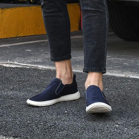 Chamaripa verhogende schoenen heren schoenen met verborgen hak heren schoenen met hoge hak donkerblauw 6CM