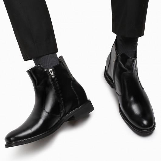 CHAMARIPA verhogende schoenen herenschoenen met verhoogde zwarte leren laarzen 7CM