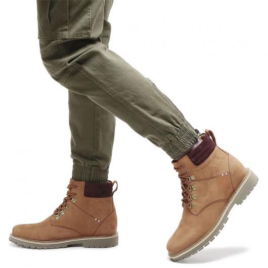 CHAMARIPA verhoogde schoenen voor mannen waterafstotend wandelschoenen bruin leer verhogende laarzen 8CM