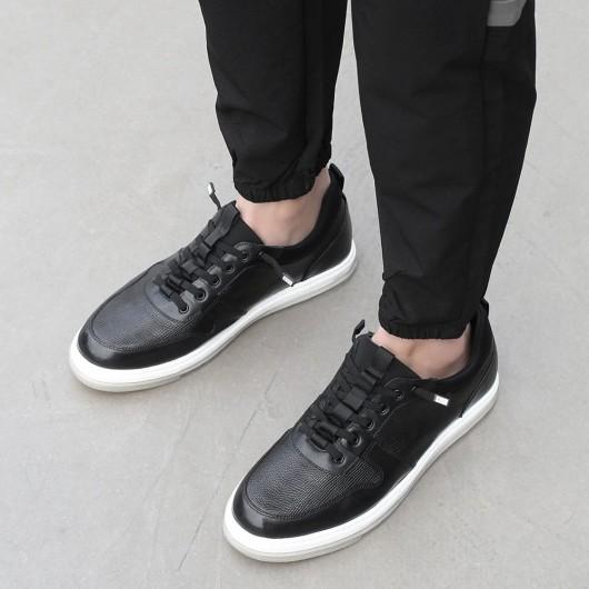 CHAMARIPA verhoogde schoenen voor mannen heren schoenen hoge zool zwart lederen casual schoenen 5 CM groter