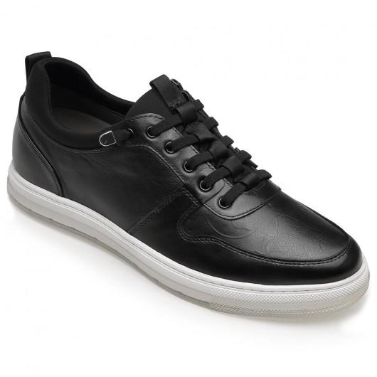 CHAMARIPA casual verhoogde schoenen mannen zwart lederen casual herenschoenen met verhoogde hak 5CM