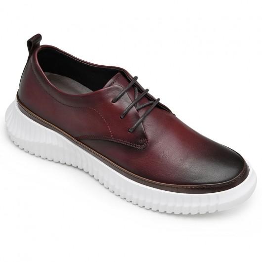 Chamaripa verhoogde schoenen voor mannen hoge hakken voor mannen Bordeaux leren vrijetijdsschoenen