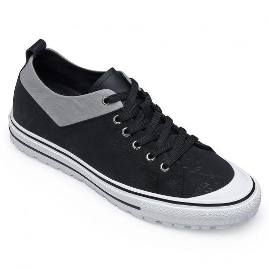 CHAMARIPA heren schoenen met verborgen hak - onzichtbaar verhoogde schoenen - zwarte canvas schoenen 6CM