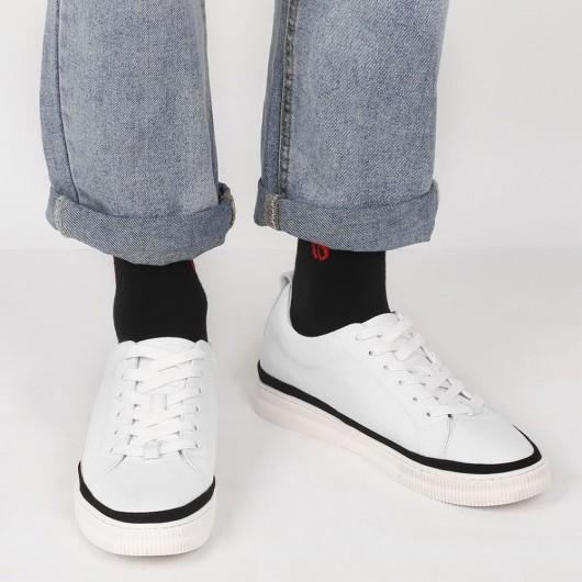 CHAMARIPA verhogende schoenen witte canvas schoenen herenschoenen met verhoogde hak 6 CM