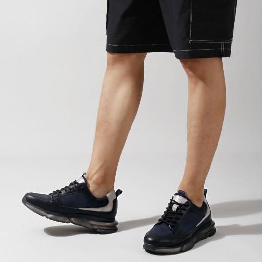 CHAMARIPA verhogende schoenen zwarte mesh ademende sneakers met verborgen sleehak 7 CM groter