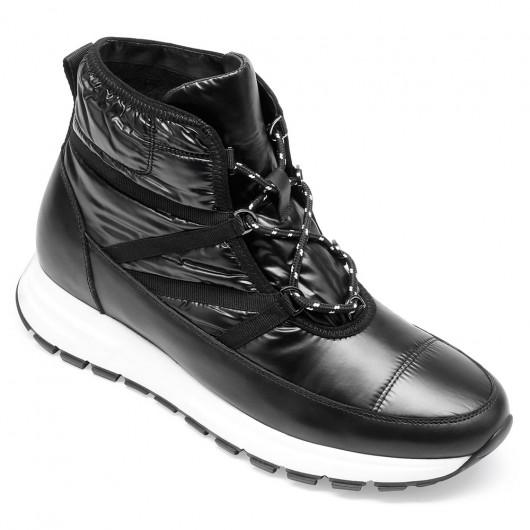 CHAMARIPA verhogende schoenen - zwarte winter warme laarzen met hoge hak voor mannen met fluwelen voering 6CM