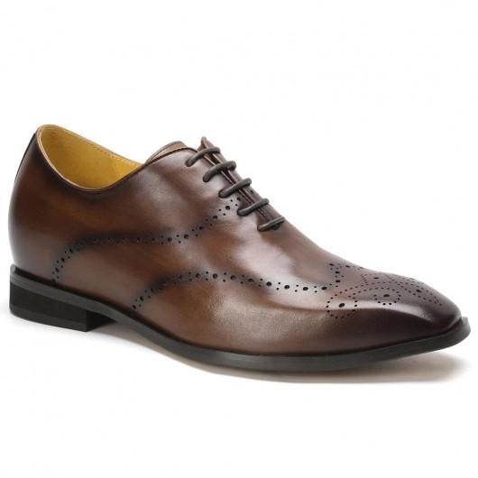 CHAMARIPA verhogende schoenen Bruine Wingtip Oxford hoge hak heren schoenen 7 CM