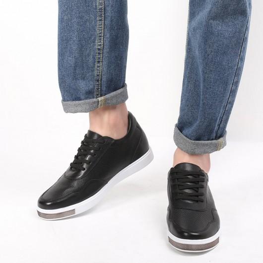 Chamaripa sneakers sleehak herenschoenen met verhoogde hak Zwart leren sneakers heren 6 CM Langer