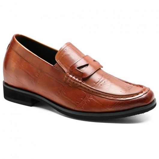 Chamaripa verhogende schoenen bruine instappers heren schoenen met verborgen hak +7 CM