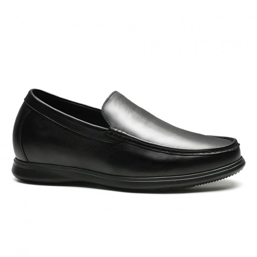 Chamaripa Height Increasing Loafer Black Slip On Shoes that Gain Height Driver Shoes 7 CM /2.76 Inches