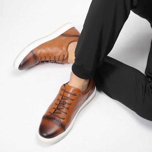 Chamaripa verhoogde schoenen bruine casual sneakers met verborgen hak sneakers met verhoogde binnenzool 5CM