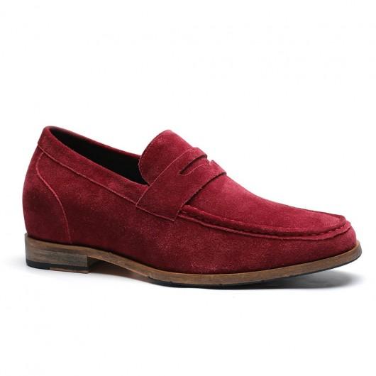 Chamaripa verhogende schoenen Herenschoenen met hoge hak schoenen voor kleine mannen suède mocassin 7 CM