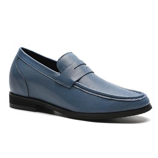 (40 dagen schoenmakerstijd) Chamaripa verhogende schoenen blauw heren schoenen hoge zool heren schoenen met hoge hak 7 CM Langer