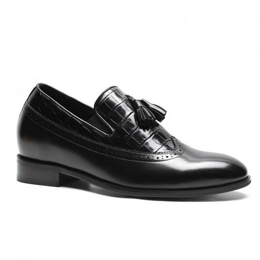 Chamaripa verhogende schoenen herenschoenen met hoge hak hoge hakken voor mannen loafer met kwastjes zwart 7 CM