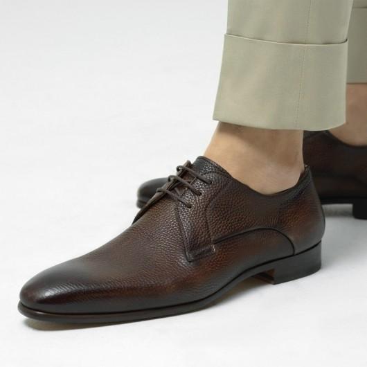 Chamaripa verhogende schoenen heren schoenen met verborgen hak bruine leren derbyschoenen 7CM