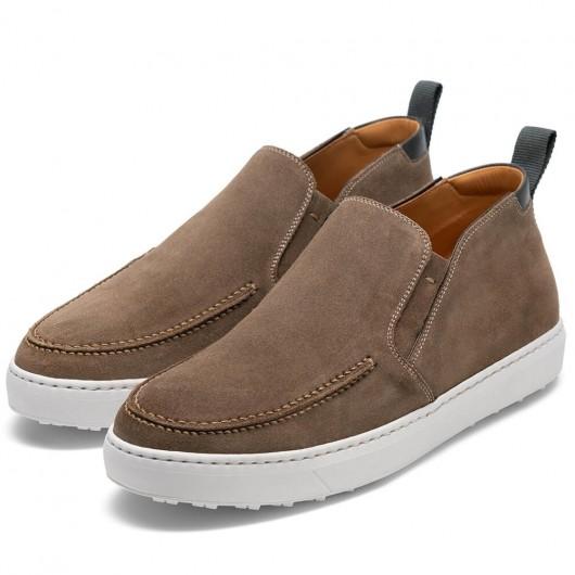 CHAMARIPA verhoogde schoenen hoog hak heren schoenen kaki suède schoenen voor heren 7CM