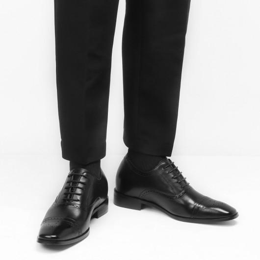 Chamaripa schoenen met verhoogde hiel 7 CM Langer Business schoenen Zwart