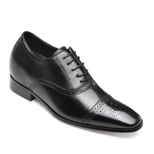 Chamaripa schoenen met verhoogde hiel 7 CM Langer Business schoenen Zwart Verhogende Schoenen