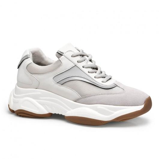 Chamaripa verhoogde schoenen sneakers met verborgen sleehak abrikoos dames sneakers 8CM
