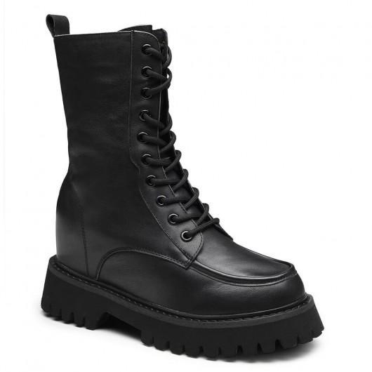 CHAMARIPA verhoogde schoenen dames zwarte leren veterlaarzen die je langer maken 9 CM